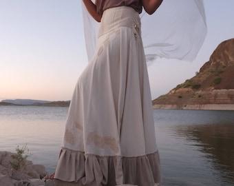 Leaves of Silk - Handwoven Bohemian Raw Silk Wedding Wrap Skirt - Wearable Fiber Art Leaf Appliqué