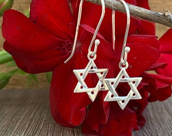 dreamcatcher earrings jew sterling silver gothic rose earrings Gothic Dreamcatchers earrings magen David earrings star of David jewish