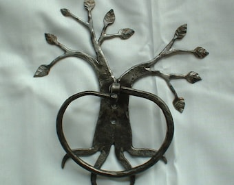 Tree towel ring, Hand forged