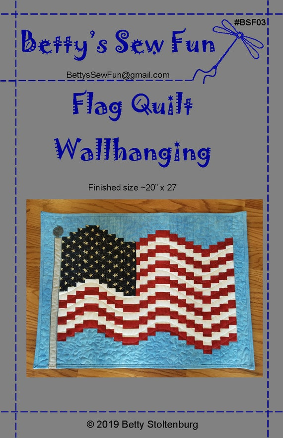 American Flag Quilt Pattern finished size ~20 x 27. Downloadable .PDF file