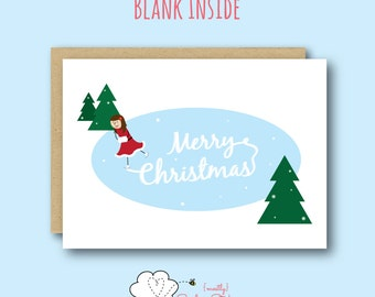 Ice Skater Merry Christmas Greeting Card