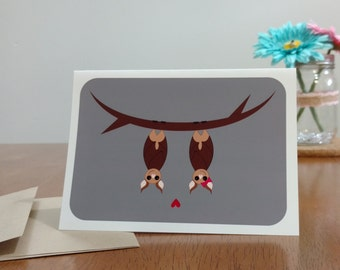 """Bats """"Hanging Out"""" Greeting Card"""