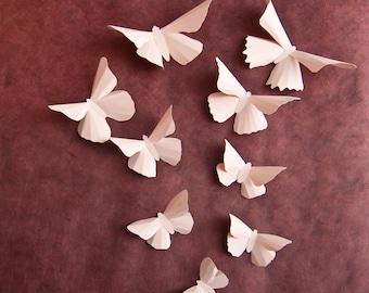 3D Wall Butterflies: Pale Pink Butterfly Wall Art for Baby Girls Room Nursery Decor
