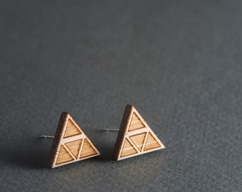 Wood Earrings, Triangle Stud Earrings, Surgical Steel Geometric Triforce Earrings