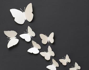 3D Wall Butterflies: 3D Butterfly Wall Art for Modern Home Decor in Pearl Metallic