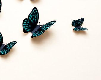 3D butterfly wall art: green 3d wall butterflies, paper butterfly wall stickers