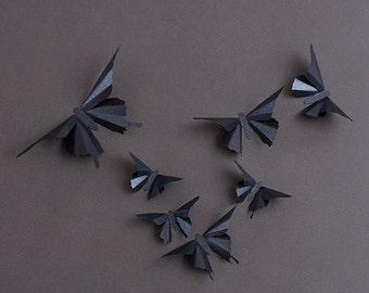 3D Schmetterling Wandkunst: Onyx Schwarz Metall Schmetterling Silhouetten  Für Mädchen Kinderzimmer Und Kunst Wohnkultur
