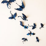 Game of Thrones Decor, 3D Dragon Wall Decal, Mother of Dragons, Fantasy Decor, Dark Blue Wall Art