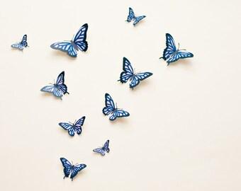 3D wall butterflies: Butterfly wall art, illustrated Oaxacan-style butterflies in pink & blue, spring decor