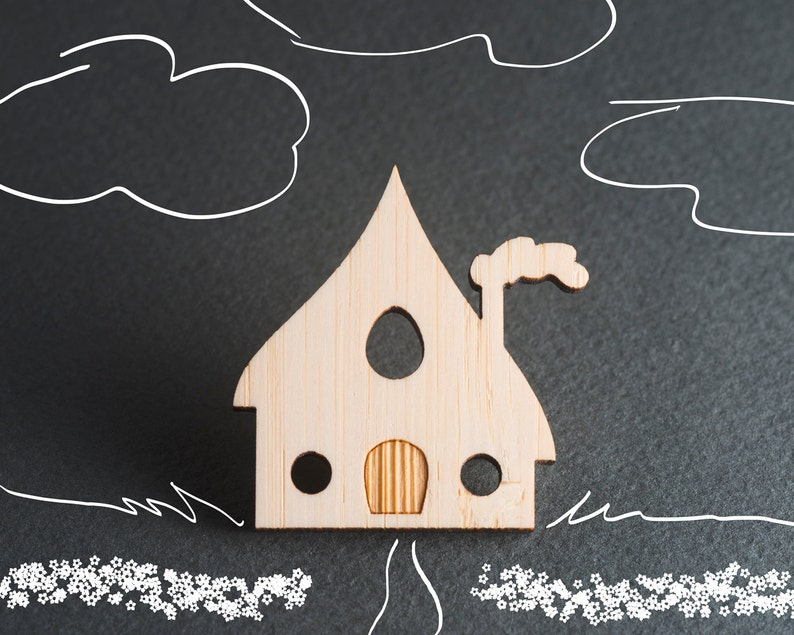 House Jewelry House Pin Wood Laser Cut Jewelry Tiny House image 0