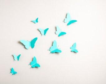 3D Wall Butterflies: 3D Butterfly Wall Art for Nursery, Girl's Room in Robin's Egg Blue