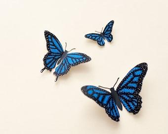 3D wall butterflies: Butterfly wall art, illustrated Oaxacan-style butterflies in blueberry blue, summer decor