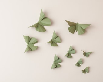 3D Wall Butterflies: Olive Green Butterfly Silhouettes for Girls Room, Nursery, and Home Art Decor