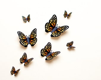 3D wall butterflies: yellow & orange paper butterfly wall art, dorm decor