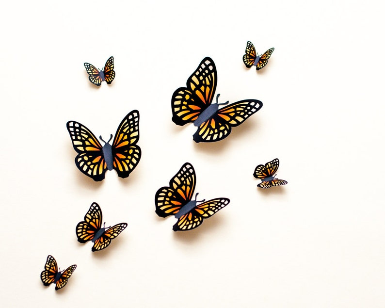 3D wall butterflies: yellow & orange paper butterfly wall art image 0