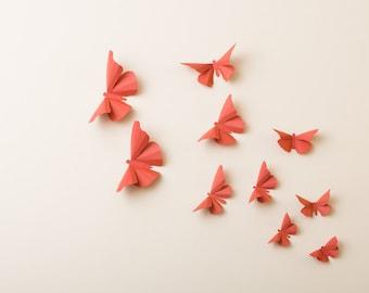 3D Wall Butterflies: Terracotta Butterfly Silhouettes for Girls Room, Nursery, Home Decor