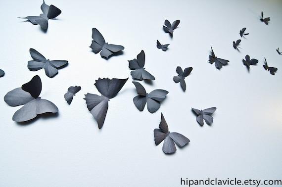 3D Butterfly Wall Art Black Butterflies 3D Wall Decor Soot | Etsy