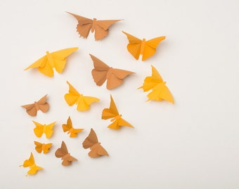 3D Wall Butterflies: Butterfly Wall Art for Nursery, Girl's Room, Classroom or Home Decor in Yellow, Orange & Brown