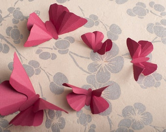 3D Wall Butterflies: Raspberry Butterfly Silhouettes for Girls Room, Nursery, and Home Decor
