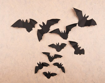 3D Bat Decor, Black Paper Bats Halloween Party Decorations, Bat Wall Decals Gothic Decor