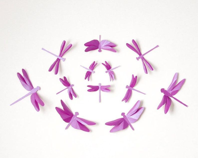 Dragonfly Wall Art: Paper dragonflies for woodland nursery image 0