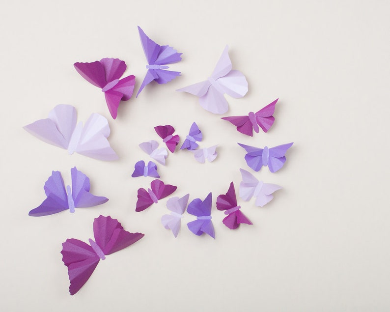 Purple Butterflies for Nursery Decor Baby Shower Bedroom  image 0