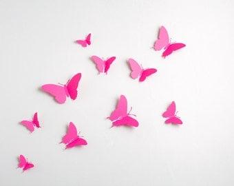 3D Wall Butterflies: 3D Butterfly Wall Art for Nursery, Girl's Room in Fuchsia Pink