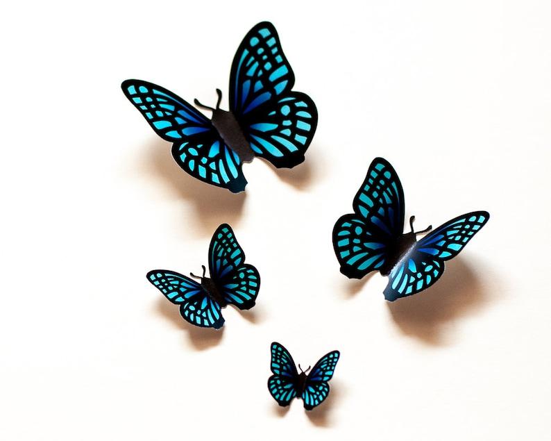 3D wall butterflies whimsical home decor teal gradient butterfly wall art for nursery dorm