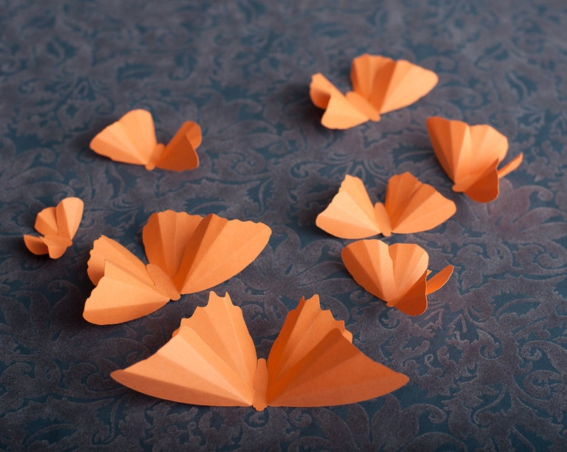 3D Wall Butterflies Cantaloupe Melon Butterfly Silhouettes image 1