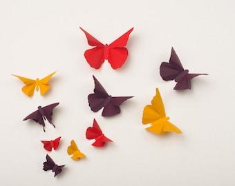 3D Wall Butterflies: Butterfly Wall Art for Nursery, Girl's Room, Classroom or Home Decor - Autumn Flight in Squash, Ruby & Plum
