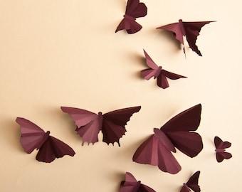 3D Wall Butterflies: Plum Butterfly Silhouettes for Girls Room, Nursery, and Home Art Decor