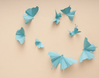 3D Wall Butterflies: Sky Blue Butterfly Silhouettes for Girls Room, Nursery, and Home Decor