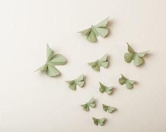 3D Wall Butterflies: Green Tea Butterfly Silhouettes for Girls Room, Nursery, and Home Art Decor