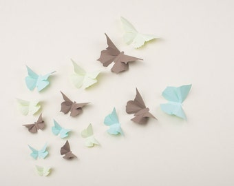 3D Wall Butterflies: Butterfly Wall Art for Nursery, Girl's Room, Classroom or Home Decor in Honeydew, Mint & Chamoisee