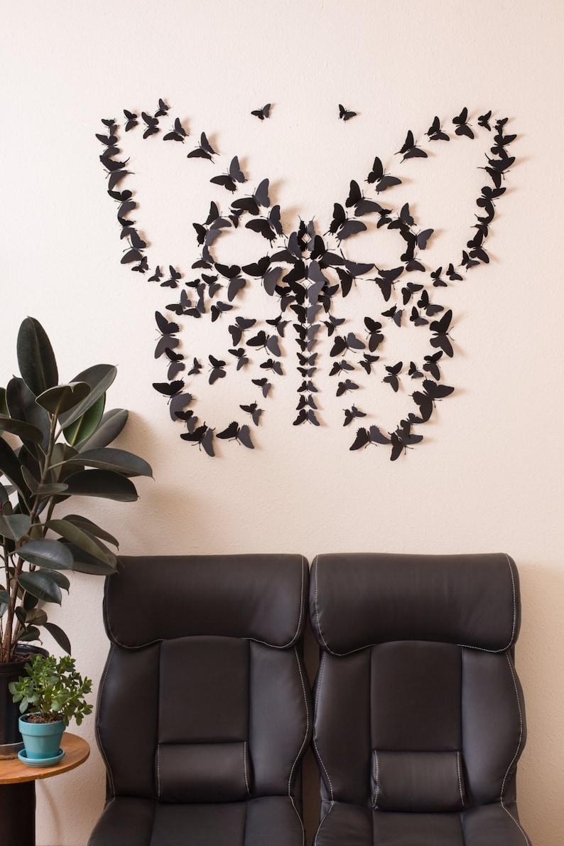 Black 3D Butterfly Wall Art image 0