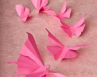 3D Butterfly Wall Art, 3D Wall Butterflies, 3D Butterfly Wall Decals   Bubblegum Pink Butterflies