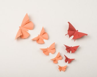 3D Wall Butterflies: Butterfly Wall Art for Nursery, Wedding or Home Decor in Coral & Terracotta