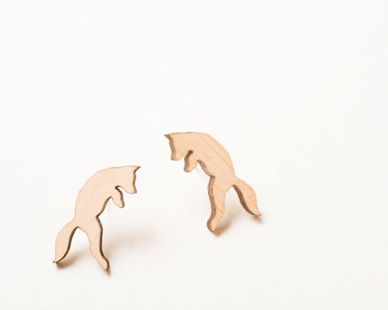 Fox Earrings Fox Jewelry Pouncing Fox Woodland Earrings with image 0
