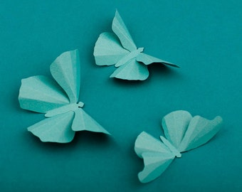 3D Wall Butterflies: Robin's Egg Butterfly Silhouettes for Girls Room, Nursery, and Home Decor