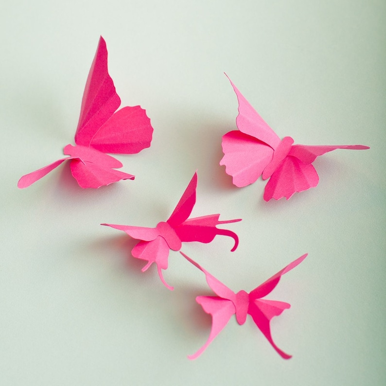 3D Wall Butterflies: Fuchsia Pink Butterfly Silhouettes for image 1