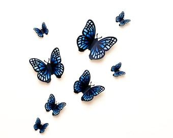 3D wall butterflies: blue gradient butterfly wall art for nursery, dorm, whimsical home decor