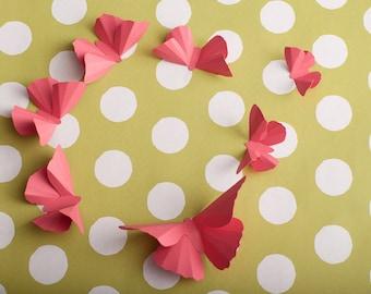 Pink Butterfly Nursery Wall Decor Girls Room, Watermelon Pink Birthday Decorations