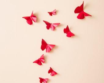 3D Butterfly Wall Art Red Paper Butterflies