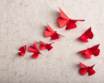 Ruby Red Butterfly Room Decor for Woodland Baby Shower, Girl Nursery
