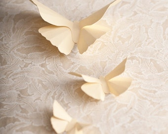 3D Wall Butterflies, French Vanilla Butterfly Silhouettes for Girls Room, Nursery, and Home Art Decor