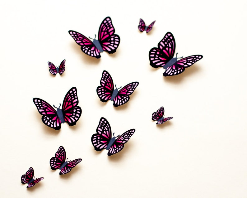 Light pink & fuchsia butterfly wall art baby girl room decor image 0