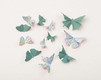 3D Wall Butterflies: Butterfly Wall Art for Nursery, Girl's Room, or Home Decor in Spruce & Teal Script