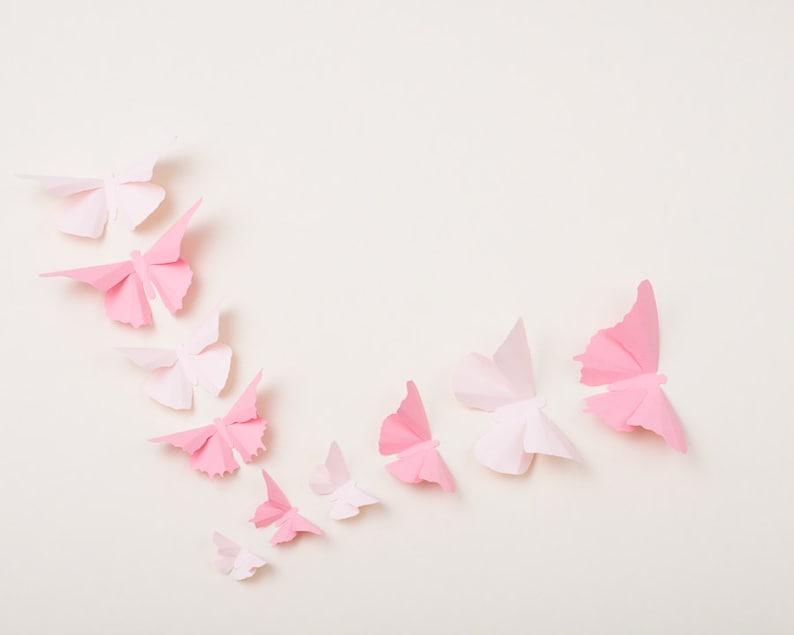 3D Nursery Butterflies: Light Pink Butterfly Wall Art for image 0