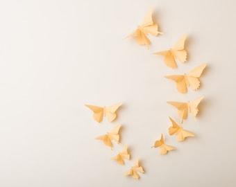 3D Wall Butterflies: Custard Butterfly Silhouettes for Girls Room, Nursery, and Home Art Decor