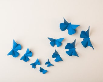 3D Wall Butterflies: Palatinate Blue Butterfly Silhouettes for Girls Room, Nursery, and Home Art Decor
